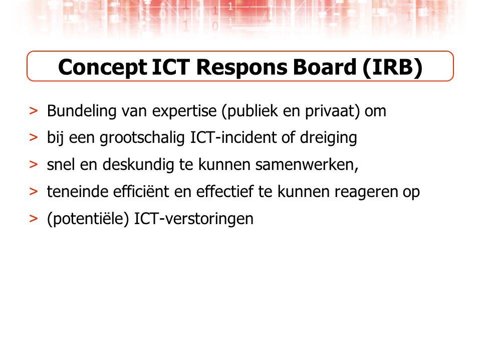 Concept ICT Respons Board (IRB) > Bundeling van expertise (publiek en privaat) om > bij een grootschalig ICT-incident of dreiging > snel en deskundig te kunnen samenwerken, > teneinde efficiënt en effectief te kunnen reageren op > (potentiële) ICT-verstoringen
