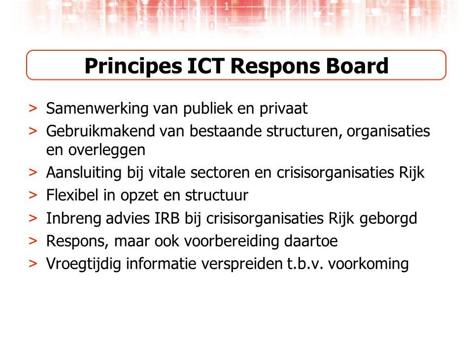 Principes ICT Respons Board > Samenwerking van publiek en privaat > Gebruikmakend van bestaande structuren, organisaties en overleggen > Aansluiting bij vitale sectoren en crisisorganisaties Rijk > Flexibel in opzet en structuur > Inbreng advies IRB bij crisisorganisaties Rijk geborgd > Respons, maar ook voorbereiding daartoe > Vroegtijdig informatie verspreiden t.b.v.