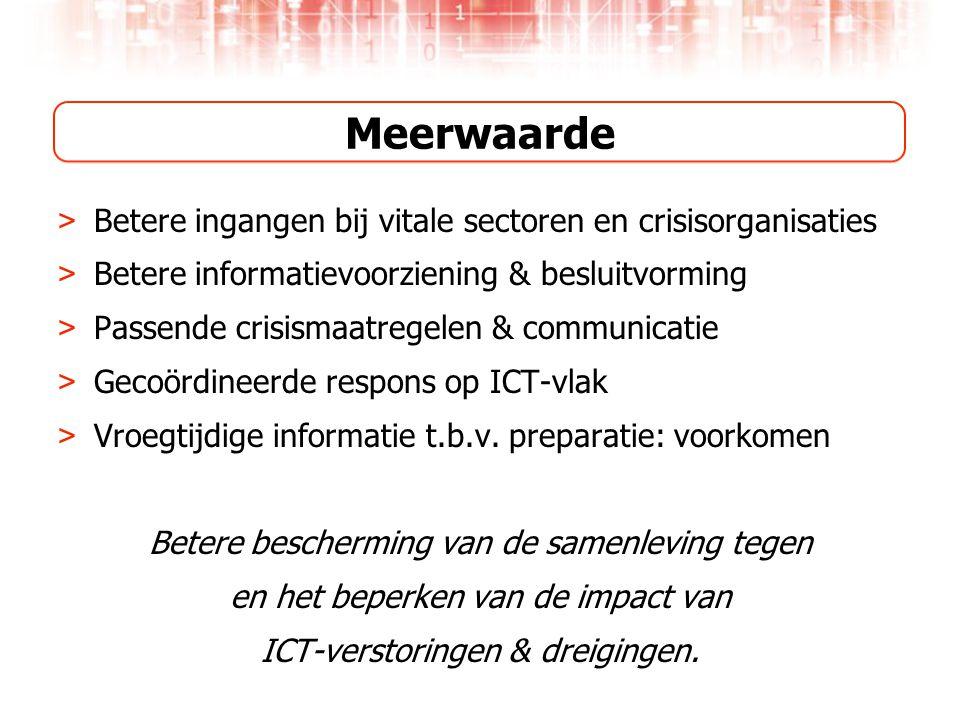 Meerwaarde > Betere ingangen bij vitale sectoren en crisisorganisaties > Betere informatievoorziening & besluitvorming > Passende crisismaatregelen & communicatie > Gecoördineerde respons op ICT-vlak > Vroegtijdige informatie t.b.v.