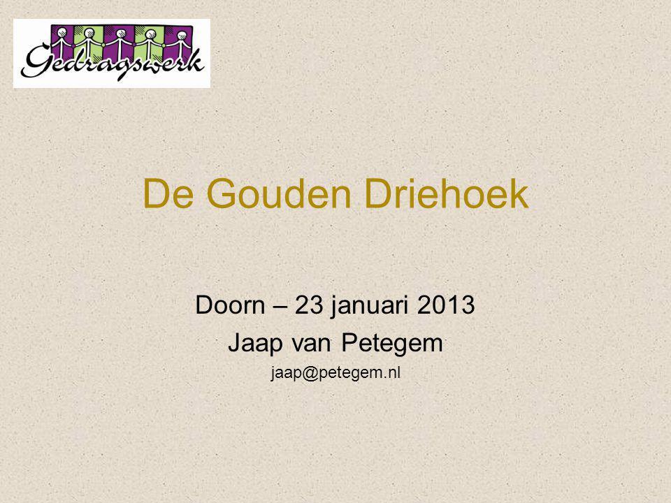 De Gouden Driehoek Doorn – 23 januari 2013 Jaap van Petegem jaap@petegem.nl