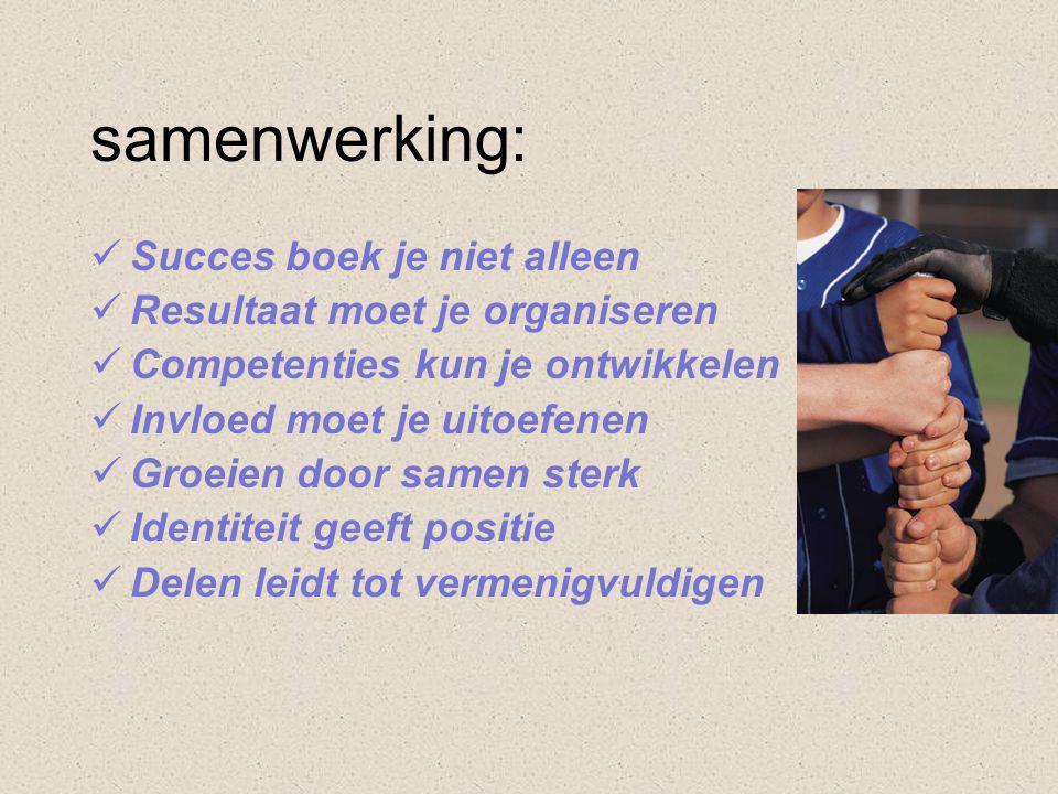 samenwerking:  Succes boek je niet alleen  Resultaat moet je organiseren  Competenties kun je ontwikkelen  Invloed moet je uitoefenen  Groeien door samen sterk  Identiteit geeft positie  Delen leidt tot vermenigvuldigen