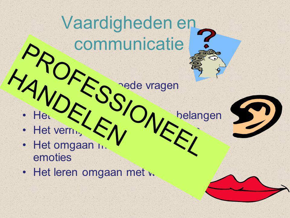 Vaardigheden en communicatie De kunst van: •Het stellen van goede vragen •Het luisteren •Het werken vanuit gedeelde belangen •Het vermijden van struikelblokken •Het omgaan met eigen en andermans emoties •Het leren omgaan met weerstanden PROFESSIONEEL HANDELEN