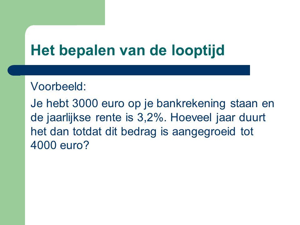 Het bepalen van de looptijd Voorbeeld: Je hebt 3000 euro op je bankrekening staan en de jaarlijkse rente is 3,2%. Hoeveel jaar duurt het dan totdat di