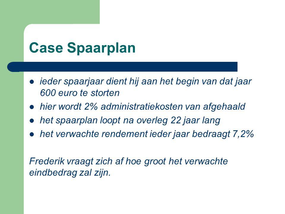 Case Spaarplan  ieder spaarjaar dient hij aan het begin van dat jaar 600 euro te storten  hier wordt 2% administratiekosten van afgehaald  het spaa