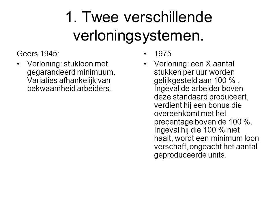 1. Twee verschillende verloningsystemen. Geers 1945: •Verloning: stukloon met gegarandeerd minimuum. Variaties afhankelijk van bekwaamheid arbeiders.