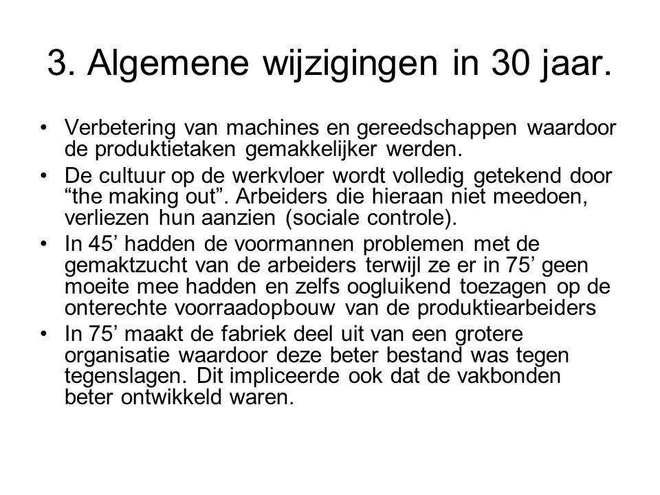 3. Algemene wijzigingen in 30 jaar. •Verbetering van machines en gereedschappen waardoor de produktietaken gemakkelijker werden. •De cultuur op de wer