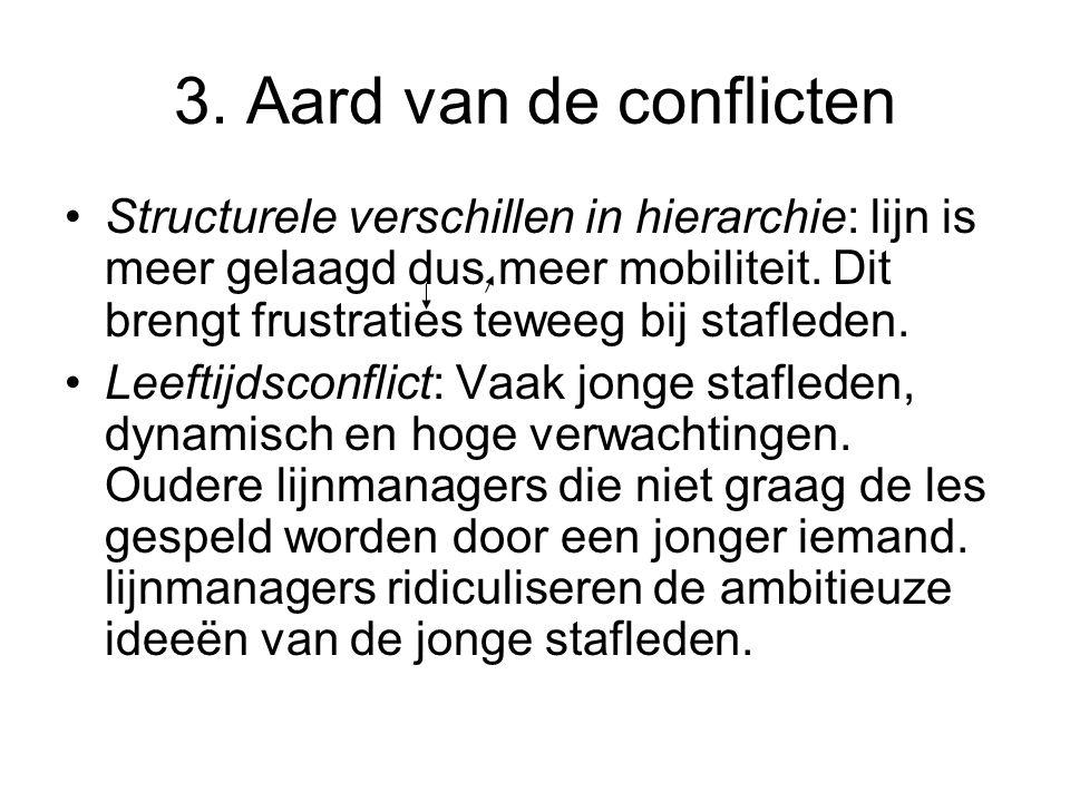 3. Aard van de conflicten •Structurele verschillen in hierarchie: lijn is meer gelaagd dus meer mobiliteit. Dit brengt frustraties teweeg bij staflede
