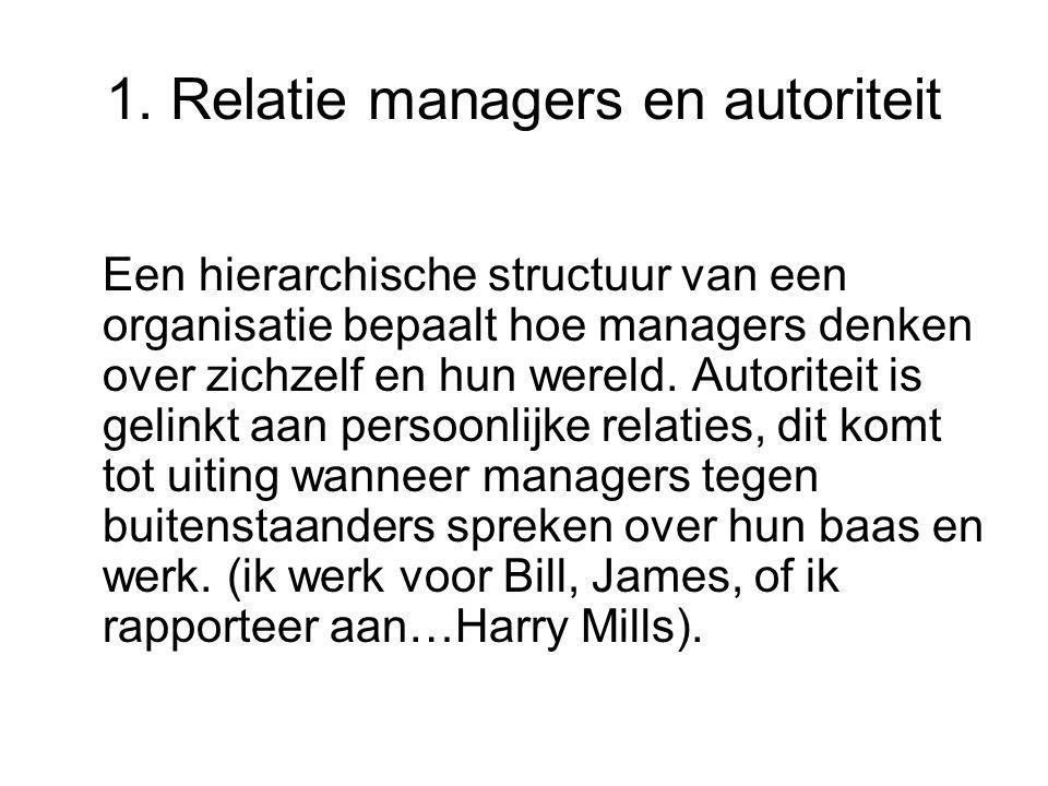 1. Relatie managers en autoriteit Een hierarchische structuur van een organisatie bepaalt hoe managers denken over zichzelf en hun wereld. Autoriteit