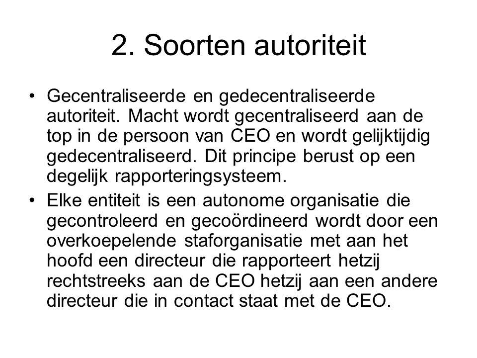 2. Soorten autoriteit •Gecentraliseerde en gedecentraliseerde autoriteit. Macht wordt gecentraliseerd aan de top in de persoon van CEO en wordt gelijk
