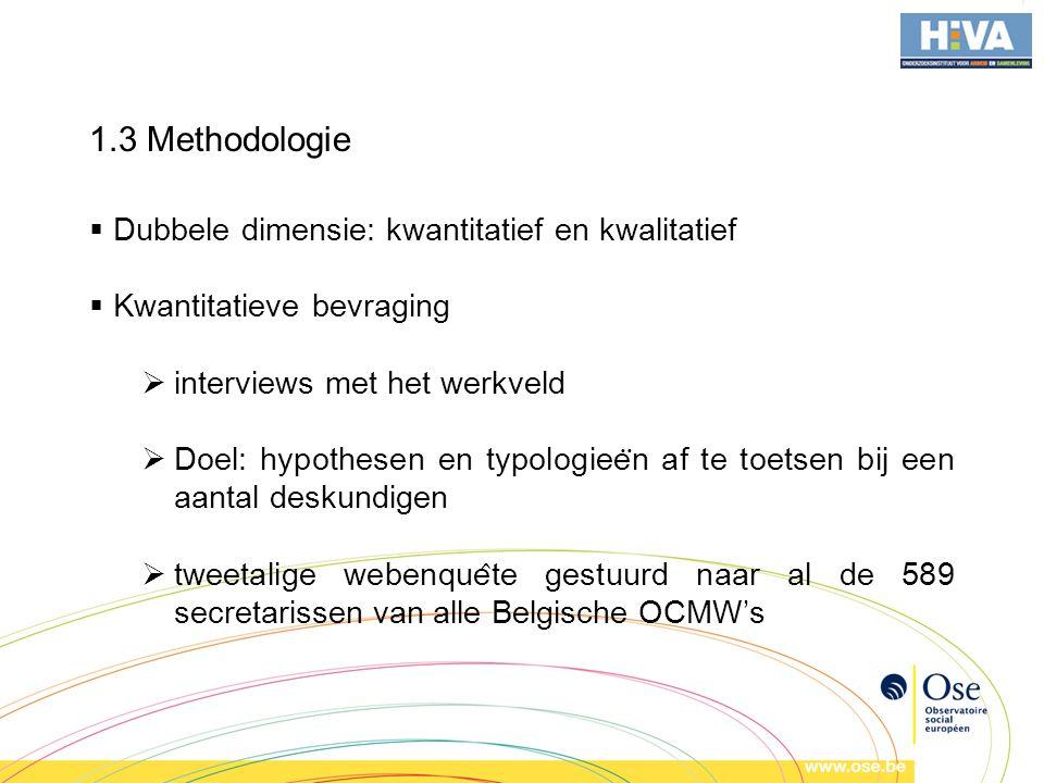 1.3 Methodologie  Dubbele dimensie: kwantitatief en kwalitatief  Kwantitatieve bevraging  interviews met het werkveld  Doel: hypothesen en typologiee ̈ n af te toetsen bij een aantal deskundigen  tweetalige webenque ̂ te gestuurd naar al de 589 secretarissen van alle Belgische OCMW's