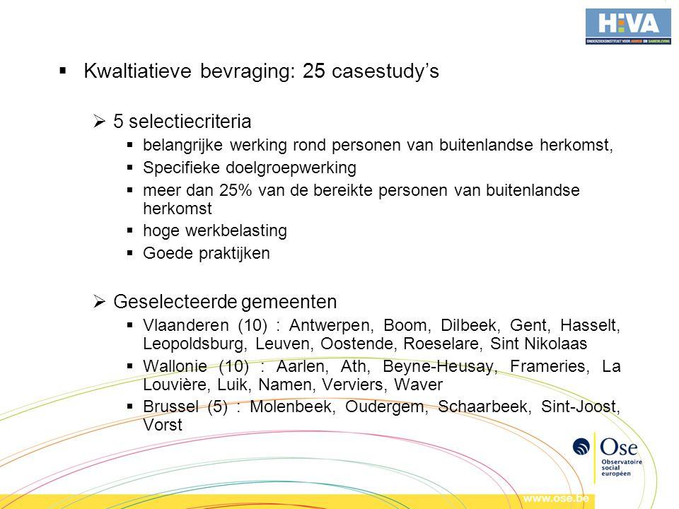  Kwaltiatieve bevraging: 25 casestudy's  5 selectiecriteria  belangrijke werking rond personen van buitenlandse herkomst,  Specifieke doelgroepwerking  meer dan 25% van de bereikte personen van buitenlandse herkomst  hoge werkbelasting  Goede praktijken  Geselecteerde gemeenten  Vlaanderen (10) : Antwerpen, Boom, Dilbeek, Gent, Hasselt, Leopoldsburg, Leuven, Oostende, Roeselare, Sint Nikolaas  Wallonie (10) : Aarlen, Ath, Beyne-Heusay, Frameries, La Louvière, Luik, Namen, Verviers, Waver  Brussel (5) : Molenbeek, Oudergem, Schaarbeek, Sint-Joost, Vorst