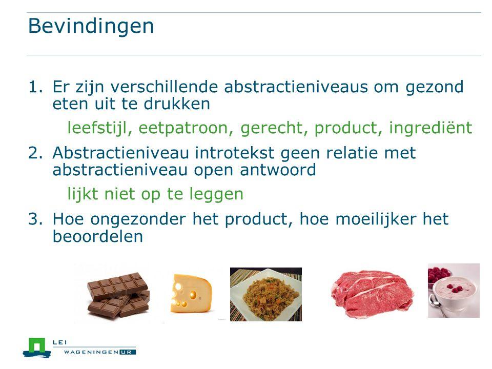 Bevindingen 1.Er zijn verschillende abstractieniveaus om gezond eten uit te drukken leefstijl, eetpatroon, gerecht, product, ingrediënt 2.Abstractieni