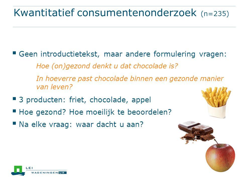 Kwantitatief consumentenonderzoek (n=235)  Geen introductietekst, maar andere formulering vragen: Hoe (on)gezond denkt u dat chocolade is.