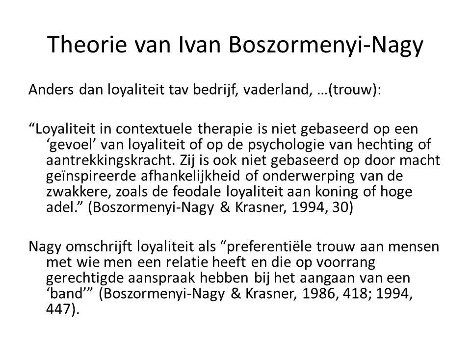 """Theorie van Ivan Boszormenyi-Nagy Anders dan loyaliteit tav bedrijf, vaderland, …(trouw): """"Loyaliteit in contextuele therapie is niet gebaseerd op een"""