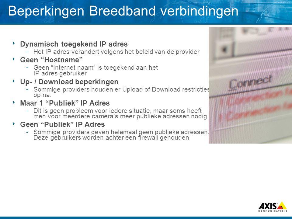 """Beperkingen Breedband verbindingen  Dynamisch toegekend IP adres  Het IP adres verandert volgens het beleid van de provider  Geen """"Hostname""""  Geen"""