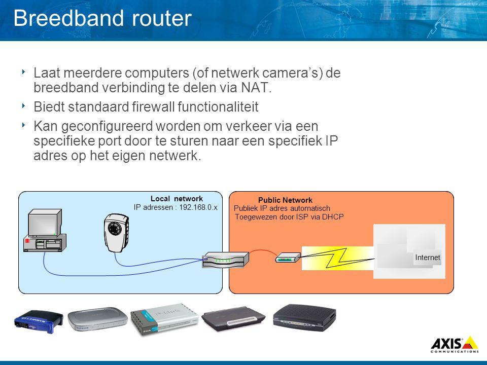Breedband router  Laat meerdere computers (of netwerk camera's) de breedband verbinding te delen via NAT.  Biedt standaard firewall functionaliteit