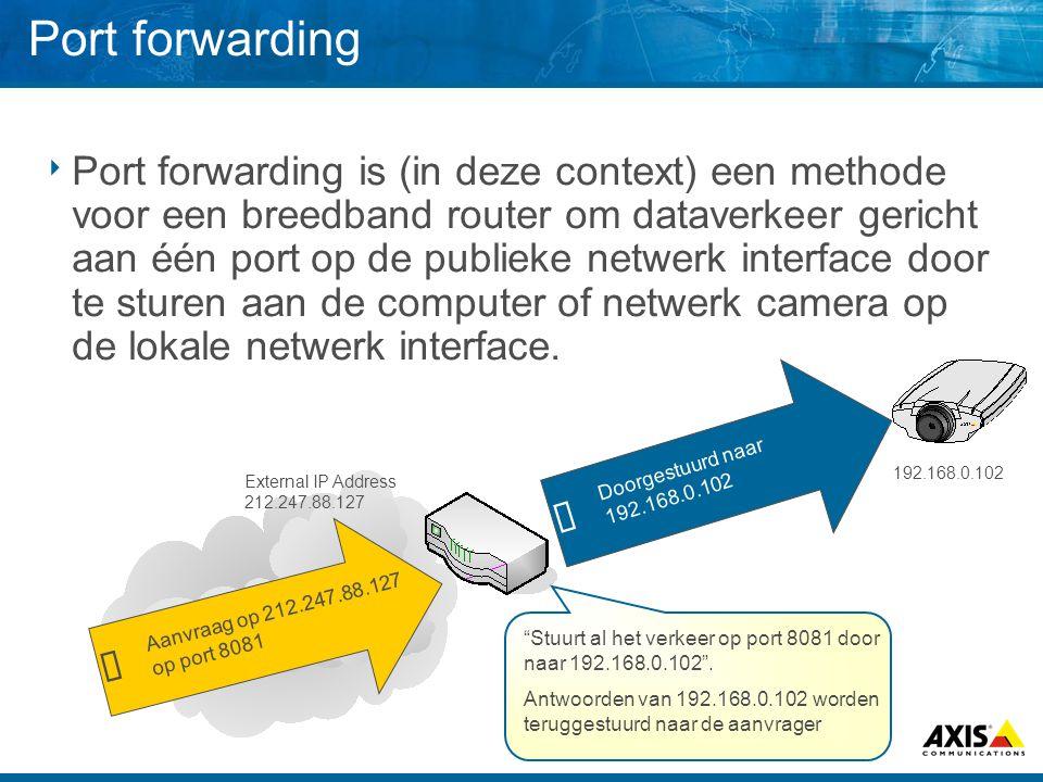 Port forwarding  Port forwarding is (in deze context) een methode voor een breedband router om dataverkeer gericht aan één port op de publieke netwer