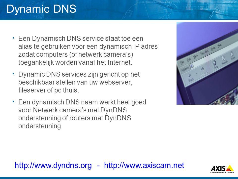 Dynamic DNS  Een Dynamisch DNS service staat toe een alias te gebruiken voor een dynamisch IP adres zodat computers (of netwerk camera's) toegankelij
