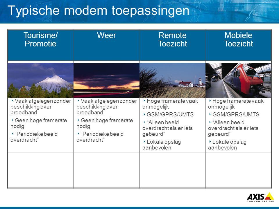 Typische modem toepassingen Tourisme/ Promotie WeerRemote Toezicht Mobiele Toezicht  Vaak afgelegen zonder beschikking over breedband  Geen hoge fra