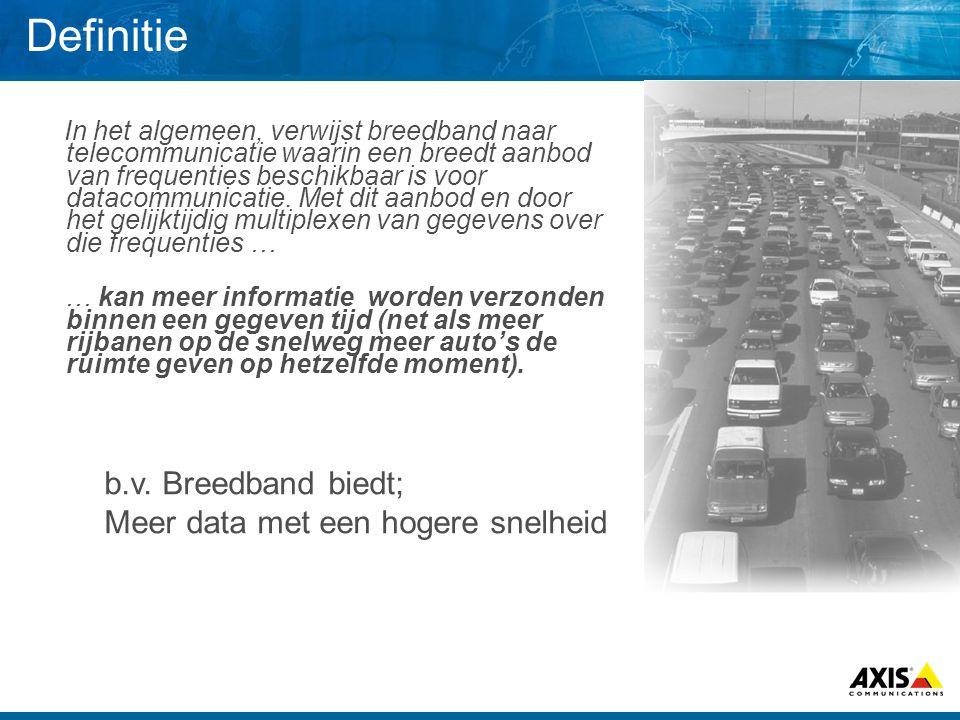 Definitie In het algemeen, verwijst breedband naar telecommunicatie waarin een breedt aanbod van frequenties beschikbaar is voor datacommunicatie. Met