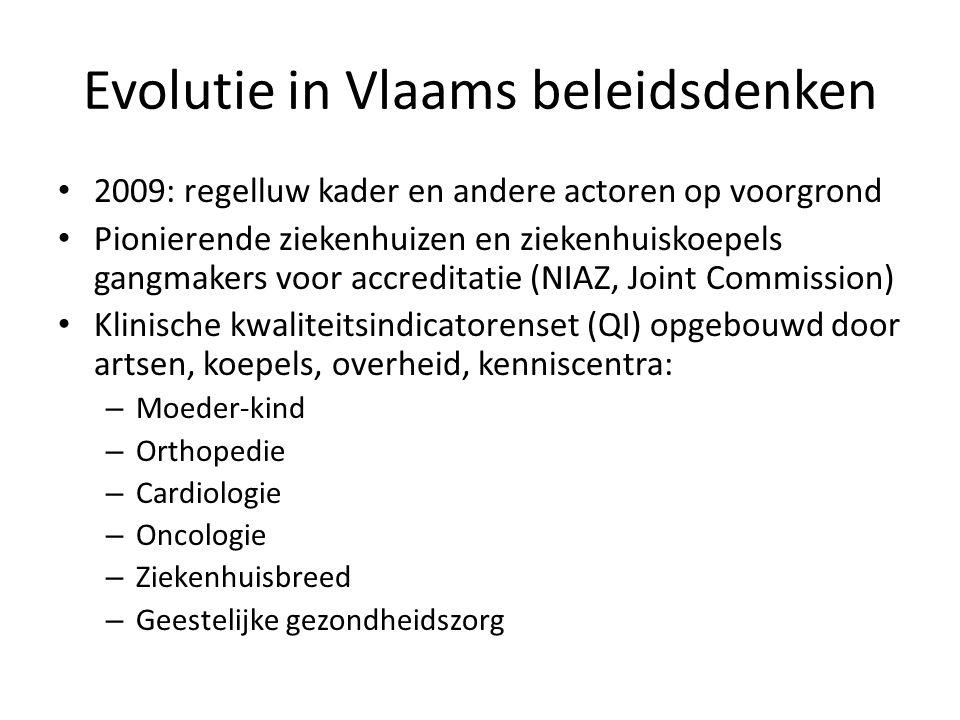 Evolutie in Vlaams beleidsdenken • 2009: regelluw kader en andere actoren op voorgrond • Pionierende ziekenhuizen en ziekenhuiskoepels gangmakers voor