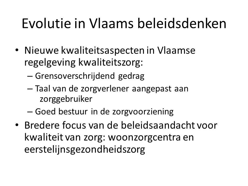 Evolutie in Vlaams beleidsdenken • Nieuwe kwaliteitsaspecten in Vlaamse regelgeving kwaliteitszorg: – Grensoverschrijdend gedrag – Taal van de zorgver