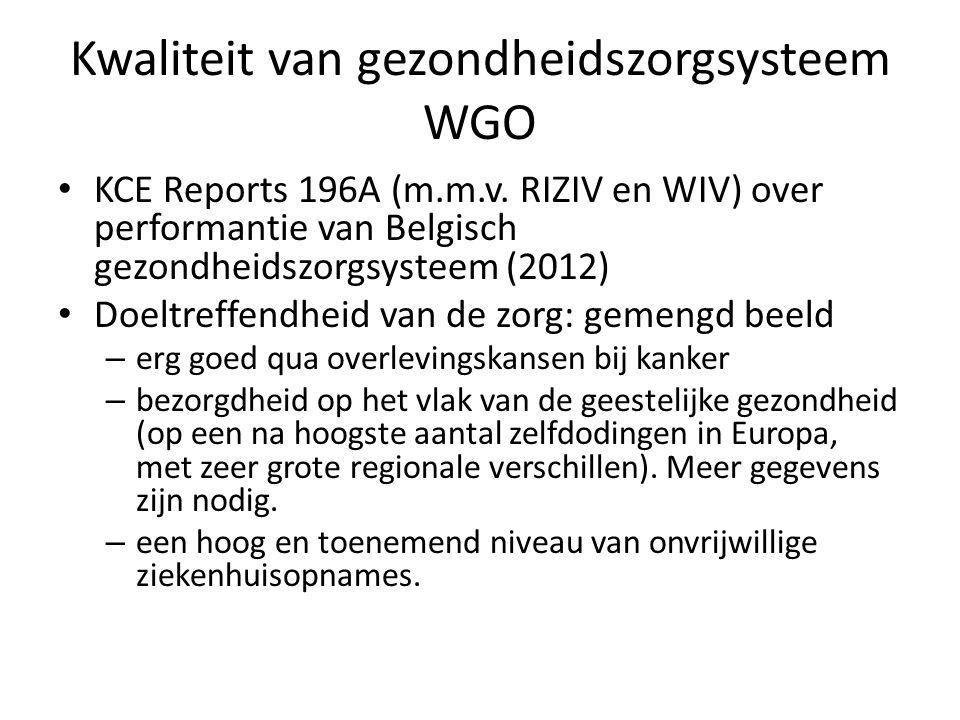Kwaliteit van gezondheidszorgsysteem WGO • KCE Reports 196A (m.m.v. RIZIV en WIV) over performantie van Belgisch gezondheidszorgsysteem (2012) • Doelt