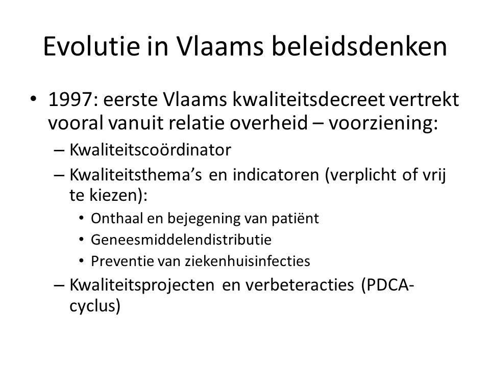Evolutie in Vlaams beleidsdenken • 1997: eerste Vlaams kwaliteitsdecreet vertrekt vooral vanuit relatie overheid – voorziening: – Kwaliteitscoördinato
