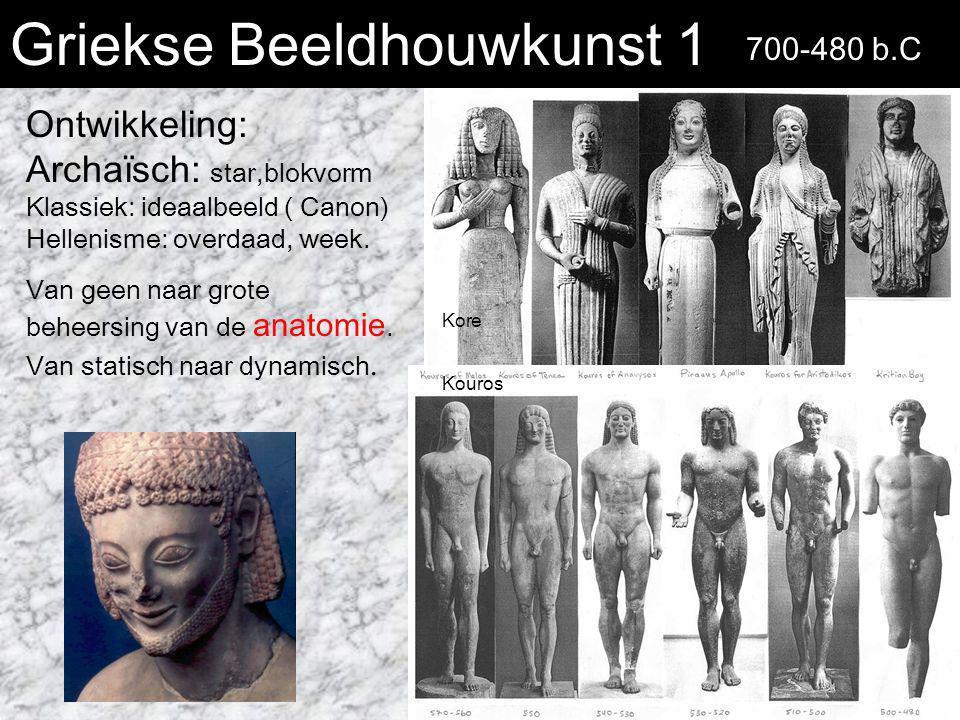 Griekse Beeldhouwkunst 1 Ontwikkeling: Archaïsch: star,blokvorm Klassiek: ideaalbeeld ( Canon) Hellenisme: overdaad, week. Van geen naar grote beheers