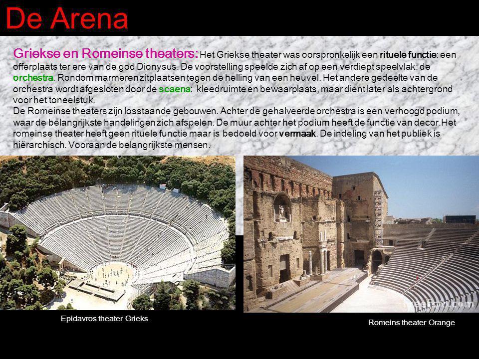 De Arena Griekse en Romeinse theaters: Het Griekse theater was oorspronkelijk een rituele functie: een offerplaats ter ere van de god Dionysus. De voo