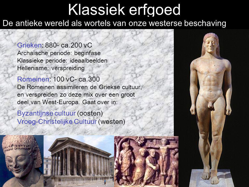 Klassiek erfgoed Grieken: 880- ca.200 vC Archaïsche periode: beginfase Klassieke periode: ideaalbeelden Hellenisme: verspreiding Romeinen: 100 vC- ca.
