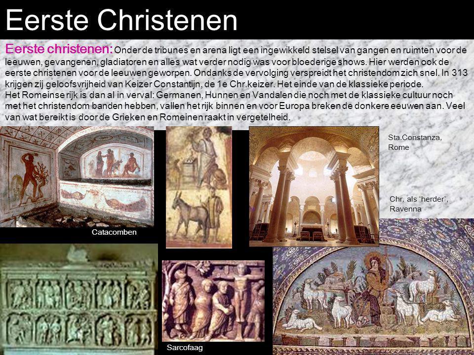 Eerste Christenen Eerste christenen: Onder de tribunes en arena ligt een ingewikkeld stelsel van gangen en ruimten voor de leeuwen, gevangenen, gladia