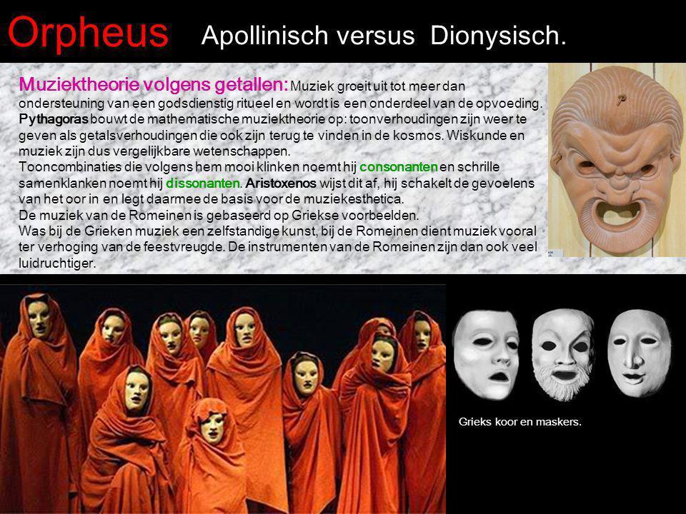 Orpheus Apollinisch versus Dionysisch. Muziektheorie volgens getallen: Muziek groeit uit tot meer dan ondersteuning van een godsdienstig ritueel en wo