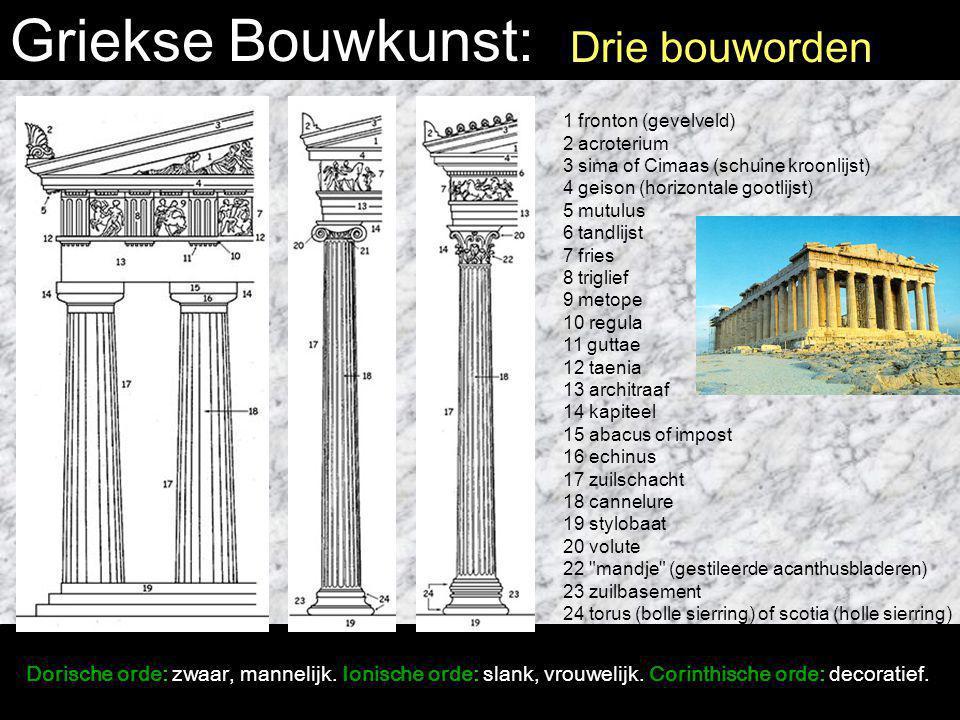 Griekse Bouwkunst: Drie bouworden Dorische orde: zwaar, mannelijk. Ionische orde: slank, vrouwelijk. Corinthische orde: decoratief. 1 fronton (gevelve