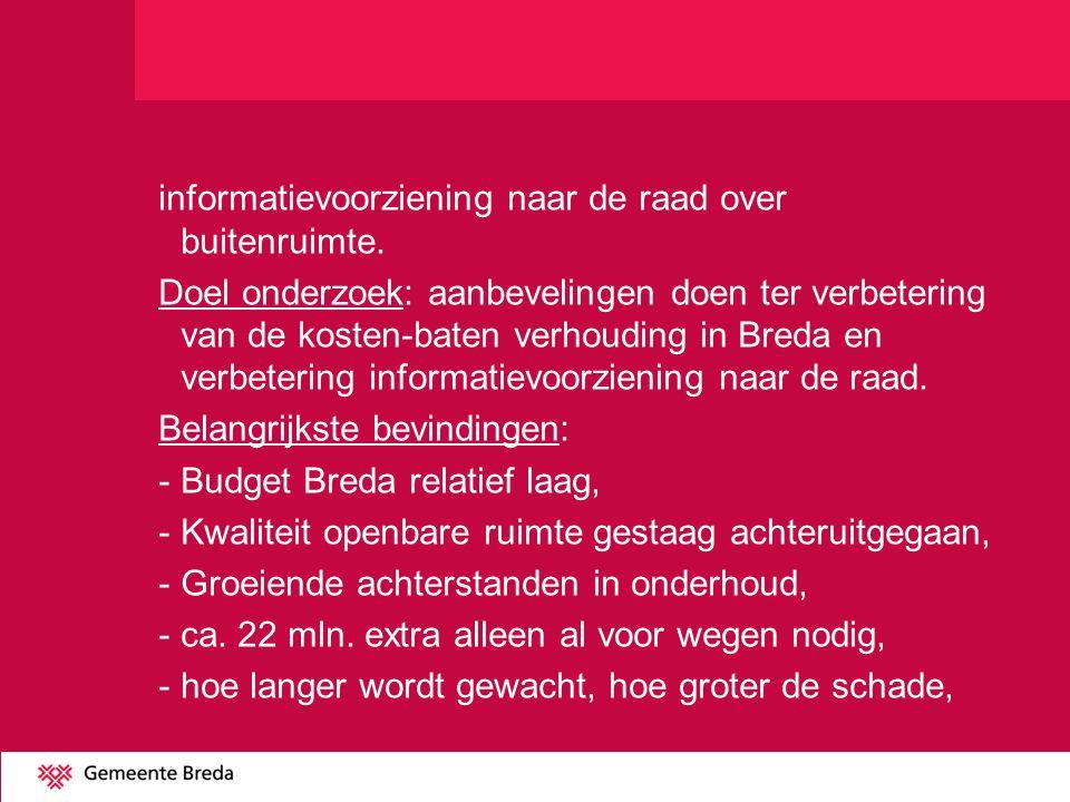 informatievoorziening naar de raad over buitenruimte. Doel onderzoek: aanbevelingen doen ter verbetering van de kosten-baten verhouding in Breda en ve