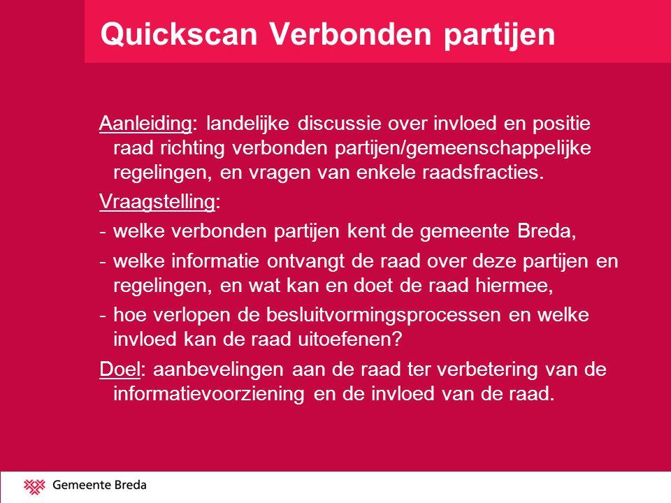 Quickscan Verbonden partijen Aanleiding: landelijke discussie over invloed en positie raad richting verbonden partijen/gemeenschappelijke regelingen,