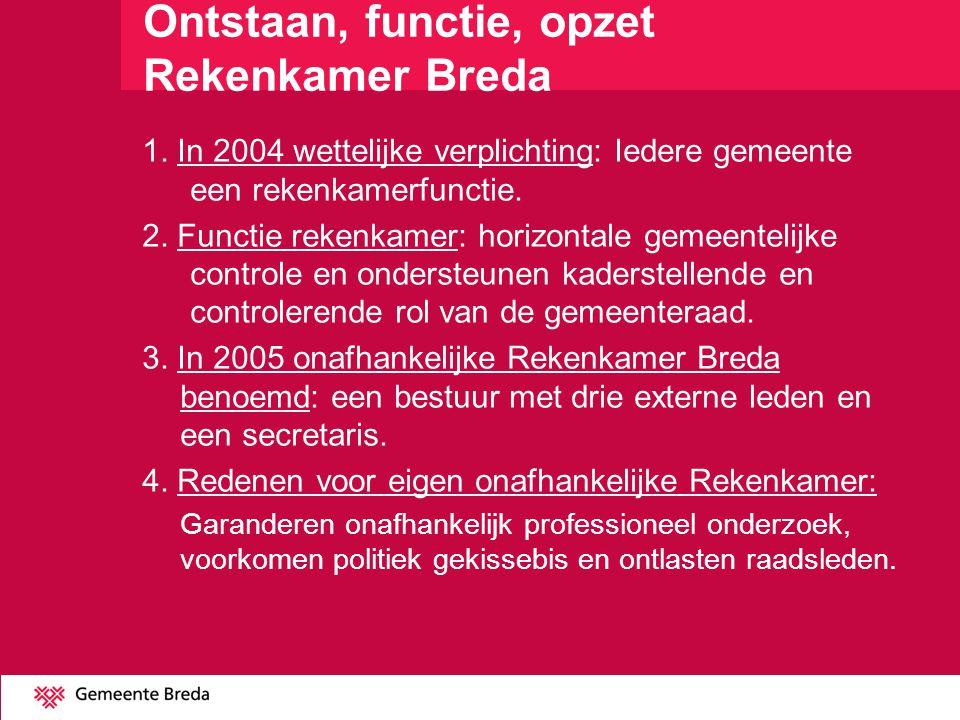1. In 2004 wettelijke verplichting: Iedere gemeente een rekenkamerfunctie. 2. Functie rekenkamer: horizontale gemeentelijke controle en ondersteunen k
