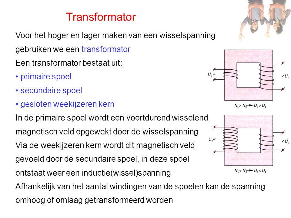 Transformator Voor het hoger en lager maken van een wisselspanning gebruiken we een transformator Een transformator bestaat uit: • primaire spoel • se