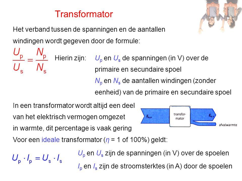 Transformator Het verband tussen de spanningen en de aantallen windingen wordt gegeven door de formule: Hierin zijn:U p en U s de spanningen (in V) ov