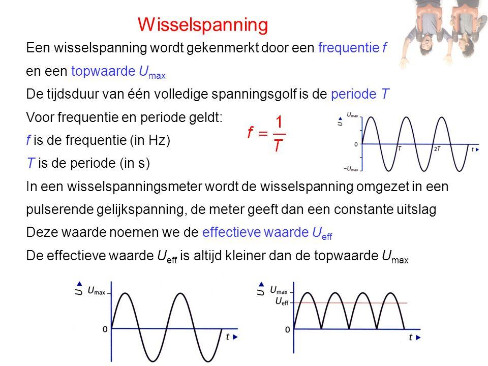 Wisselspanning Een wisselspanning wordt gekenmerkt door een frequentie f en een topwaarde U max De tijdsduur van één volledige spanningsgolf is de per