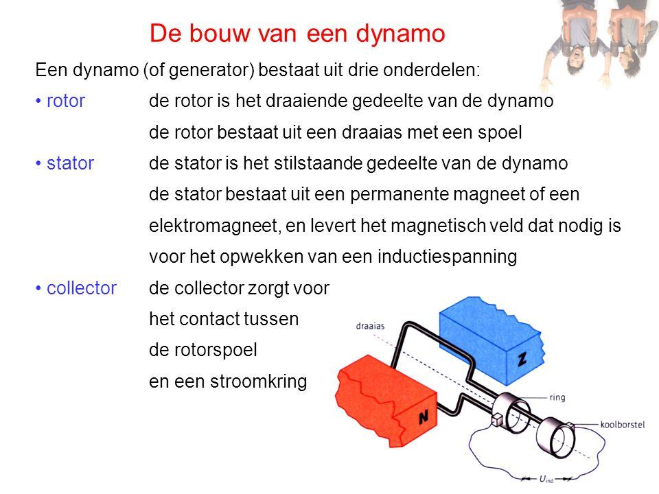 De bouw van een dynamo Een dynamo (of generator) bestaat uit drie onderdelen: • rotor • stator • collector de rotor is het draaiende gedeelte van de d