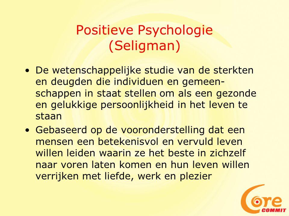 Positieve Psychologie (Seligman) •De wetenschappelijke studie van de sterkten en deugden die individuen en gemeen- schappen in staat stellen om als ee
