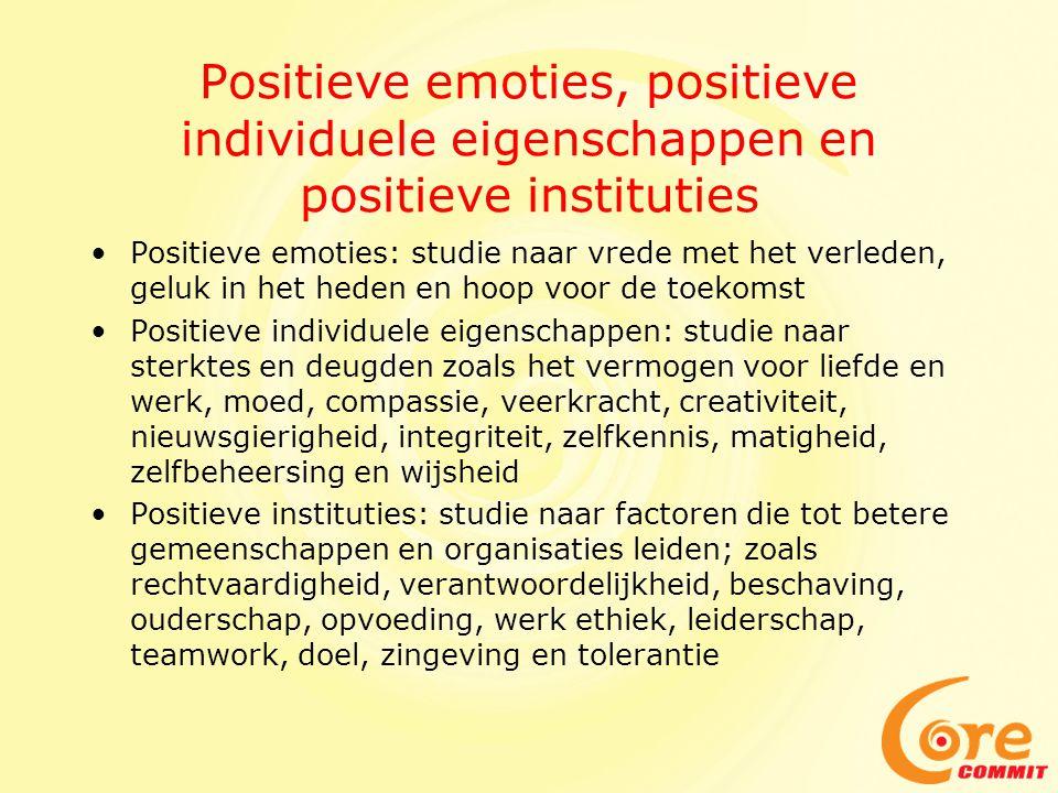 Positieve emoties, positieve individuele eigenschappen en positieve instituties •Positieve emoties: studie naar vrede met het verleden, geluk in het h