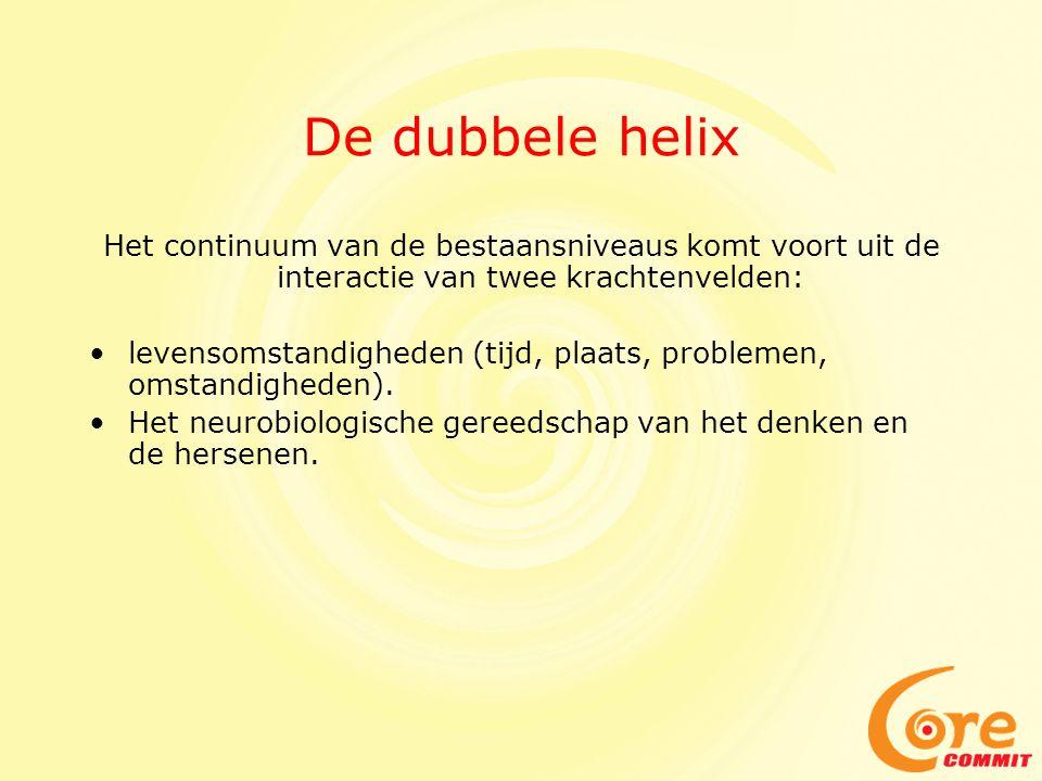 De dubbele helix Het continuum van de bestaansniveaus komt voort uit de interactie van twee krachtenvelden: •levensomstandigheden (tijd, plaats, probl