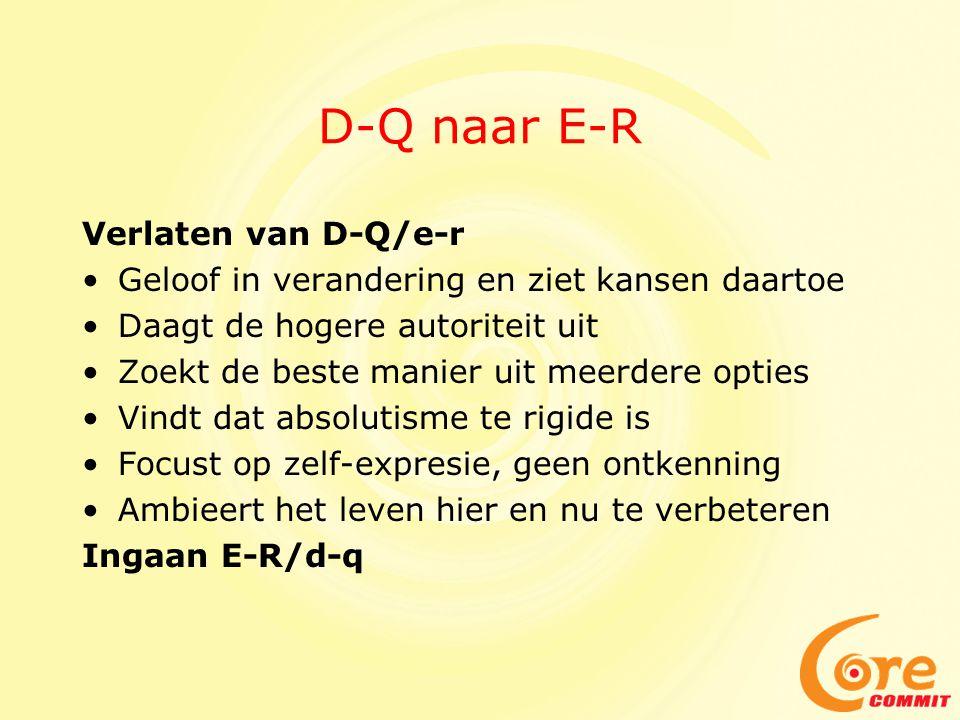 D-Q naar E-R Verlaten van D-Q/e-r •Geloof in verandering en ziet kansen daartoe •Daagt de hogere autoriteit uit •Zoekt de beste manier uit meerdere op