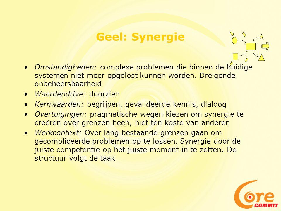 Geel: Synergie •Omstandigheden: complexe problemen die binnen de huidige systemen niet meer opgelost kunnen worden. Dreigende onbeheersbaarheid •Waard