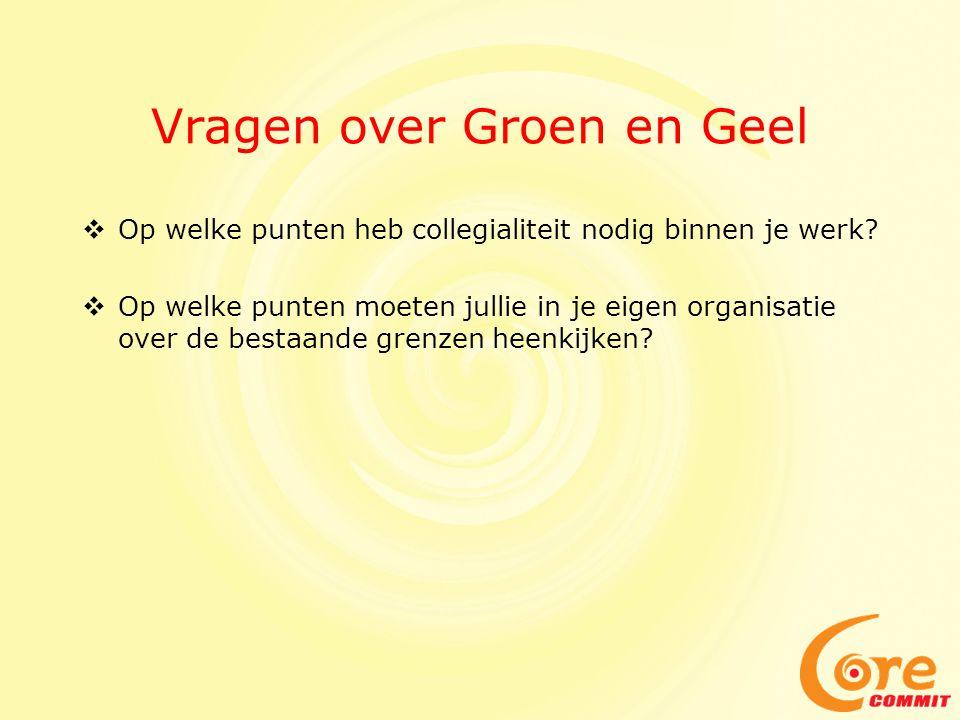 Vragen over Groen en Geel  Op welke punten heb collegialiteit nodig binnen je werk?  Op welke punten moeten jullie in je eigen organisatie over de b