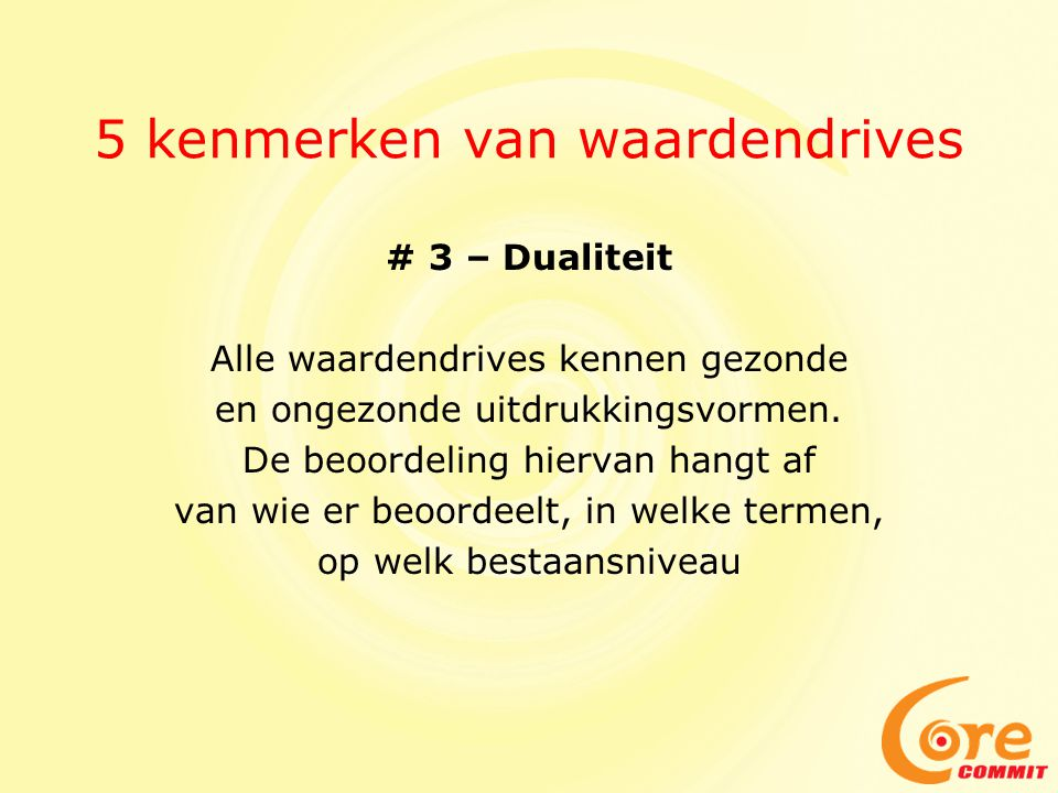 5 kenmerken van waardendrives # 3 – Dualiteit Alle waardendrives kennen gezonde en ongezonde uitdrukkingsvormen. De beoordeling hiervan hangt af van w