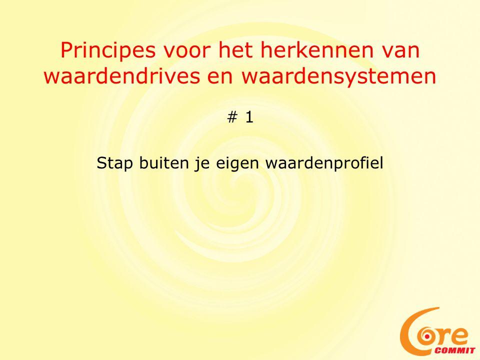 Principes voor het herkennen van waardendrives en waardensystemen # 1 Stap buiten je eigen waardenprofiel