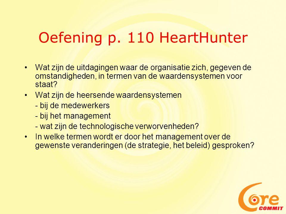Oefening p. 110 HeartHunter • Wat zijn de uitdagingen waar de organisatie zich, gegeven de omstandigheden, in termen van de waardensystemen voor staat
